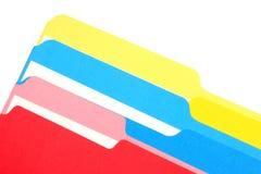 Carpetas coloreadas oblicuas Fotos de archivo libres de regalías