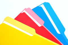 Carpetas coloreadas tricoloras Fotografía de archivo libre de regalías