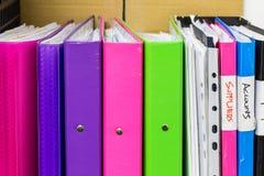 Carpetas coloridas Fotos de archivo libres de regalías