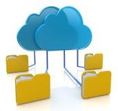 Carpetas conectadas en sincronización con el servidor de la nube Fotografía de archivo
