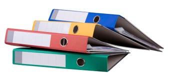 Carpetas de anillo coloridas Imágenes de archivo libres de regalías