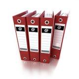 Carpetas de anillo rojas Foto de archivo