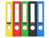 Carpetas de fichero del color aisladas en blanco Imágenes de archivo libres de regalías