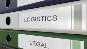 Carpetas de la oficina con las etiquetas de los departamentos corporativos stock de ilustración