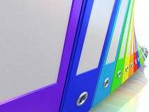 carpetas de la oficina del arco iris Imagenes de archivo