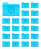 Carpetas del OS X con los iconos de las multimedias Fotos de archivo libres de regalías