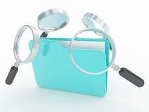 Carpetas o archivo de la búsqueda con la lupa Foto de archivo