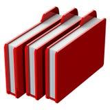 Carpetas rojas aisladas en el fondo blanco Fotografía de archivo libre de regalías