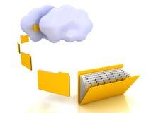 Carpetas y concepto computacional de la nube Imagen de archivo libre de regalías