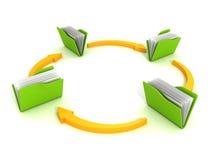 Carpetas y flechas Concepto de transferencia de los datos Imagen de archivo