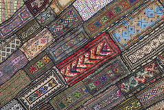 Carpeting. A pile of little carpets ordered on sale in istanbul Stock Photography