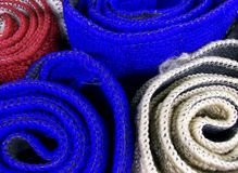 Carpets. Roll in a basket, Italy Royalty Free Stock Images