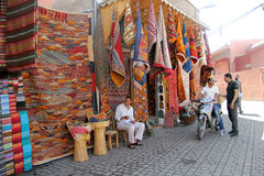 Carpets. A shop selling traditional carpets in Marrakech royalty free stock image