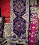 Carpets for sale in the fabric market Royalty Free Stock Images