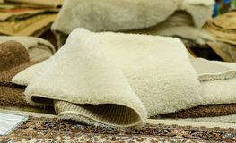 Carpets samples in the store royalty free stock images