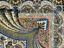 Carpets woven by hand with colorful patterns of beautiful hard work. And a lot of small details stock photography