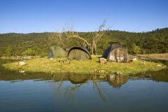 Carpfishing camping tents Stock Images