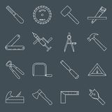 A carpintaria utiliza ferramentas o esboço dos ícones ilustração stock