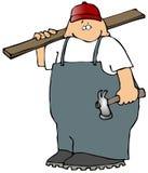 Carpinteiro com uma placa e um martelo ilustração do vetor