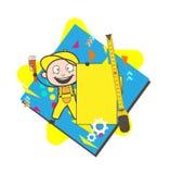 Carpinteiro dos desenhos animados com vetor de medição da bandeira da fita e do anúncio ilustração royalty free