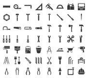 Carpinteiro, ferramenta do trabalhador manual e grupo do ícone do equipamento, projeto do glyph ilustração do vetor