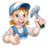 Carpinteiro Holding Hammer da mulher dos desenhos animados Fotos de Stock