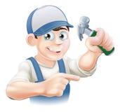 Carpinteiro Pointing dos desenhos animados Imagens de Stock