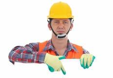 Carpinteiro que mostra o sinal vazio Imagem de Stock