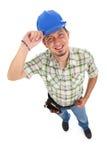 Carpinteiro Wearing Toolbelt Hardhat Fotografia de Stock