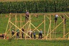 Carpinteiros de Amish em um levantamento do celeiro fotos de stock