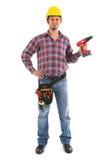 Carpintero con el taladro rojo foto de archivo