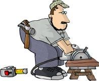 Carpintero con una sierra de la potencia libre illustration