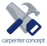 Carpintero Concept de la sierra y del martillo Imagenes de archivo