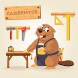 Carpintero del castor con la herramienta de madera Imagenes de archivo