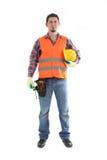 Carpintero del contratista de construcción en blanco fotos de archivo libres de regalías