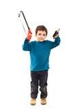 Carpintero del niño con las herramientas Foto de archivo