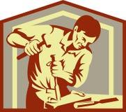 Carpintero en cincelar del trabajo libre illustration