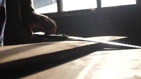 Carpintero hecho a mano y vídeo de la cámara lenta del concepto del arte Forma de vida que asierra del carpintero un árbol en una almacen de metraje de vídeo