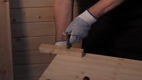 Carpintero mayor que trabaja con el tornillo almacen de video