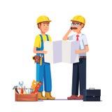 Carpintero que habla con el capataz o el arquitecto libre illustration
