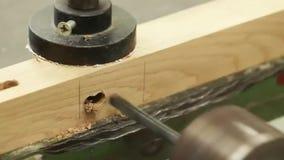 Carpintero que trabaja con la máquina eléctrica, escritorio de madera de perforación almacen de video