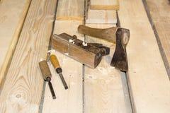 Carpintero Tools Axe Plane y cincel Fotos de archivo libres de regalías