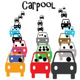 Carpool commuter. Green carpool vehicle in commuter traffic  illustration Royalty Free Stock Photo