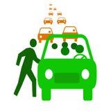 Carpool economy. Green bus with passengers in traffic  carpool illustration Stock Photos