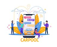 Carpool Mobile Application. Ride Planning in Chat. Group of People in Joint Travel. Man and Woman Passenger Using Smart Communication in App. Public Transport vector illustration