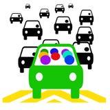 Carpool savings. Green vehicle with passengers in traffic illustration Royalty Free Stock Photos