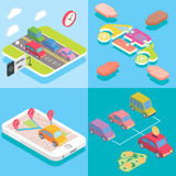 Carpool service concept in isometric style design. Vector flat 3d icons. People sharing cars. Mobile smartphone to share. Ride and use carpooling HOV lane Stock Images