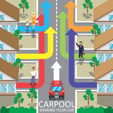 Carpool service vector illustration. Car sharing. Fellow traveler. Companions Stock Images