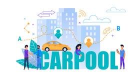 Carpool Vector Flat Banner. Transport Cooperation stock illustration