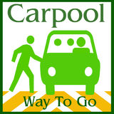 Carpool way. Green van and people on white background illustration Royalty Free Stock Photography